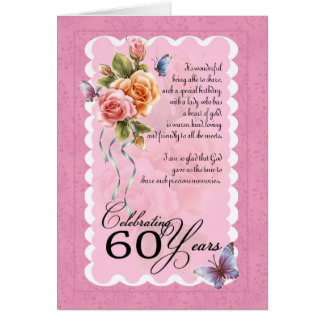 60th birthday greeting card - roses and butterflie