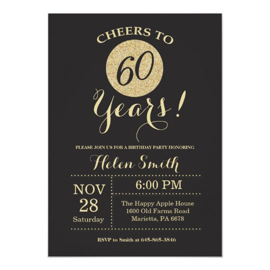 60th birthday invitation black and gold glitter zazzle 60th birthday invitation black and gold glitter stopboris Images