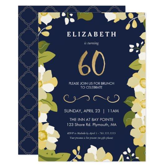 60th Birthday Invitation, Elegant Flowers w/ Gold Card