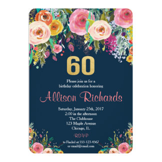 60th birthday invitation floral watercolor navy