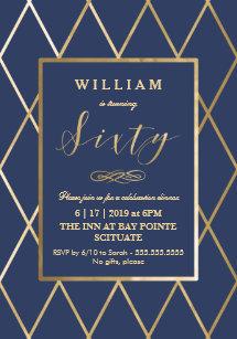 60th birthday invitations announcements zazzle uk 60th birthday invitation gold elegant trendy filmwisefo