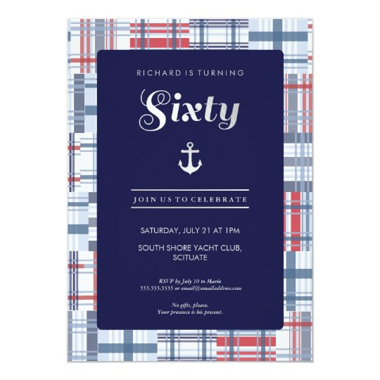 60th Birthday Invitation - Sixty Nautical Custom