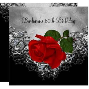Red black and silver 60th birthday invitations announcements 60th birthday lace black white silver red rose card filmwisefo Image collections