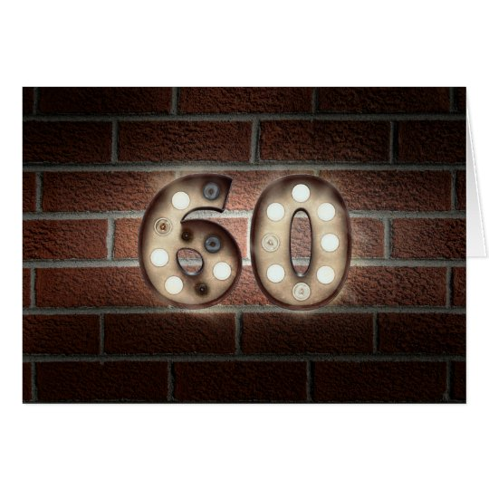 60th birthday-marquee light sign on brick card