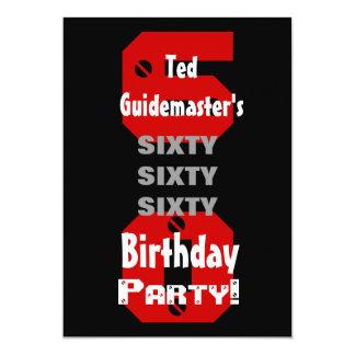 60th Birthday Modern Black Red White Rivets B477 13 Cm X 18 Cm Invitation Card