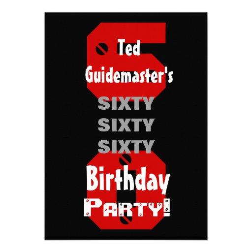 60th Birthday Modern Black Red White Rivets B477 Custom Invite