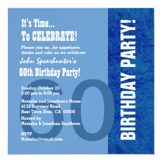 60th Birthday Modern Hues of Blue Funny V002 Card