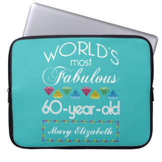 60th Birthday Most Fabulous Colorful Gem Turquoise Laptop Sleeves