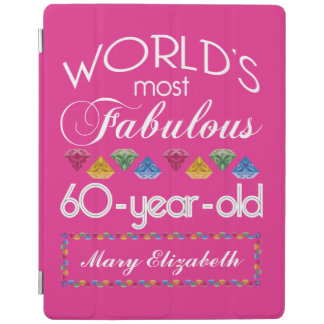 60th Birthday Most Fabulous Colorful Gems Pink iPad Cover