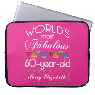 60th Birthday Most Fabulous Colorful Gems Pink Computer Sleeves