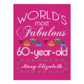 60th Birthday Most Fabulous Colorful Gems Pink Poster