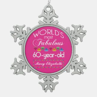 60th Birthday Most Fabulous Colorful Gems Pink Snowflake Pewter Christmas Ornament