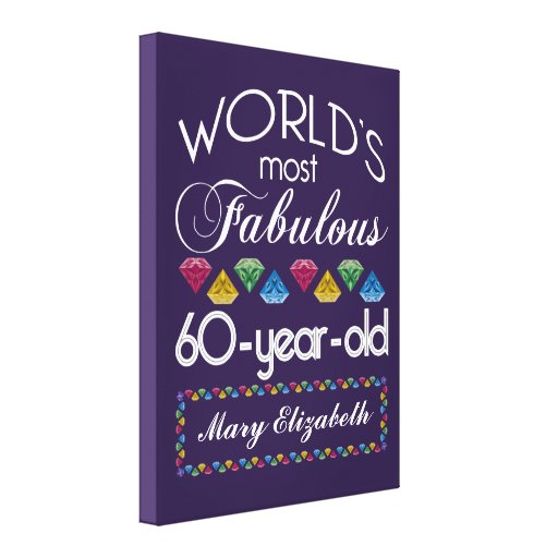 60th Birthday Most Fabulous Colorful Gems Purple Stretched Canvas Print