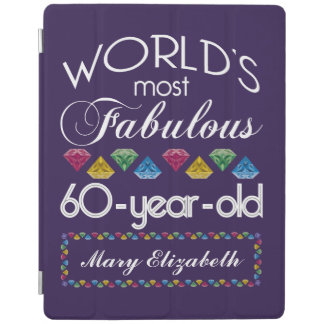 60th Birthday Most Fabulous Colorful Gems Purple iPad Cover