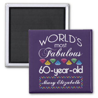 60th Birthday Most Fabulous Colorful Gems Purple Square Magnet