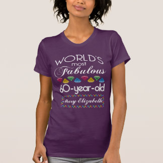 60th Birthday Most Fabulous Colorful Gems Purple T-Shirt