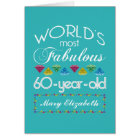 60th Birthday Most Fabulous Colourful Gem Card