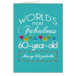 60th Birthday Most Fabulous Colourful Gem Greeting Card