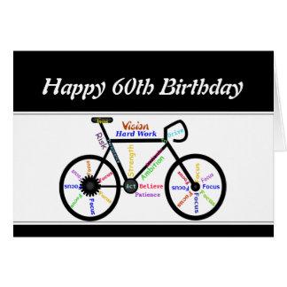 60th  Birthday Motivational Bike Bicycle Cycling Greeting Card