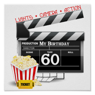 60th Birthday Movie Theme Poster