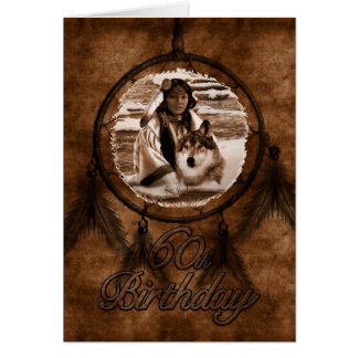 60th Birthday Native American Wolf and Dreamcatche Greeting Card