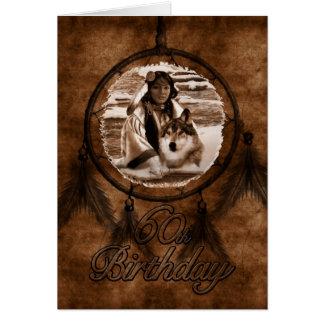 60th Birthday Native American Wolf Card