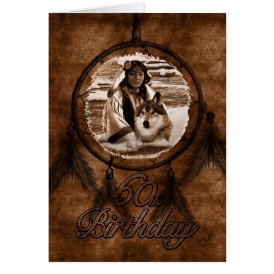 60th Birthday Native American Wolf Card