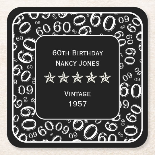 60th Birthday Party Black and White Theme Square