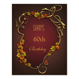 """60th Birthday Party Brown Autumn Floral 4.25"""" X 5.5"""" Invitation Card"""