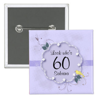60th Birthday Party | DIY Text 15 Cm Square Badge