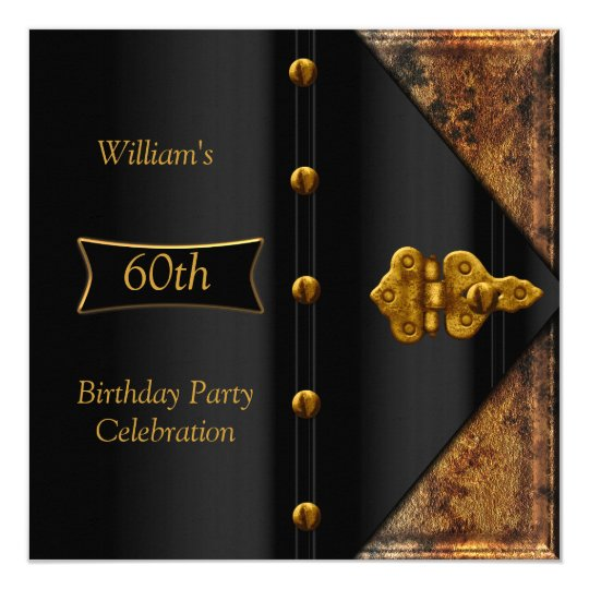 60th Birthday Party Elegant Mens Rusty Gold Black