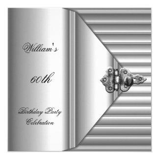 60th Birthday Party Elegant Mens Silver Mans 13 Cm X 13 Cm Square Invitation Card