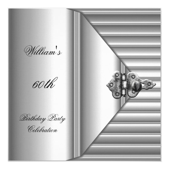 60th Birthday Party Elegant Mens Silver Mans Card