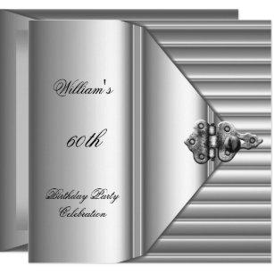 60th Birthday Party Elegant Mens Silver Mans Invitation
