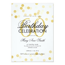 60th Birthday Party Faux Gold Foil Glitter Lights 13 Cm X 18 Cm Invitation Card