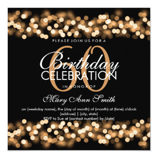 60th Birthday Party Faux Gold Hollywood Glam Card