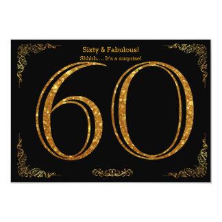 60th Birthday party,Gatsby styl,black gold glitter 13 Cm X 18 Cm Invitation Card