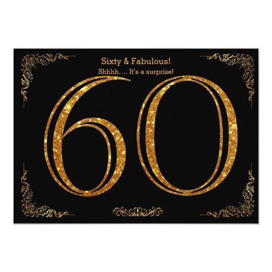 60th Birthday PartyGatsby Stylblack Gold Glitter Invitation