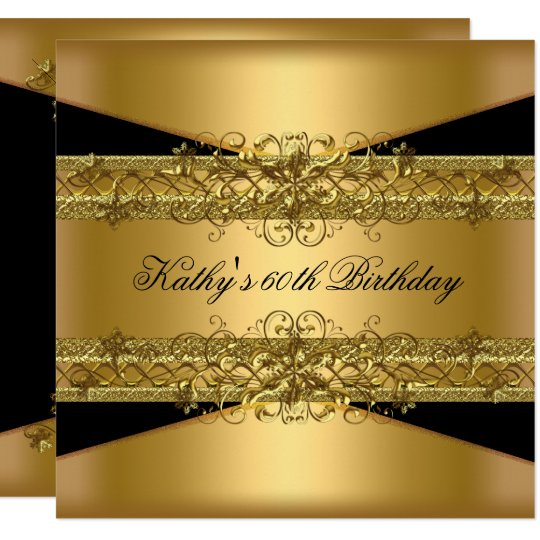 60th Birthday Party Gold Black 60 Card