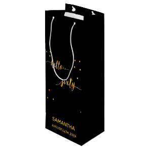 60th birthday party gold black hello sixty wine gift bag