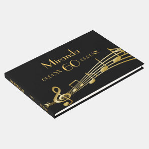 60th birthday party gold music notes on black guest book