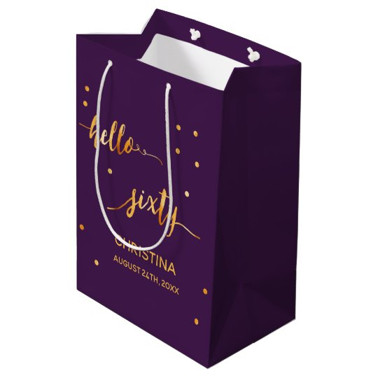 60th Birthday Party Gold Purple Hello Sixty Medium Gift Bag