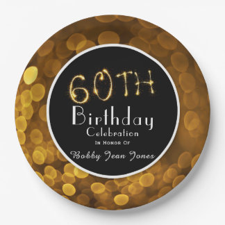 60th Birthday Party Gold Sparkle 9 Inch Paper Plate