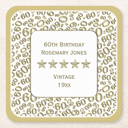 60th Birthday Party Gold/White Pattern Square Paper Coaster