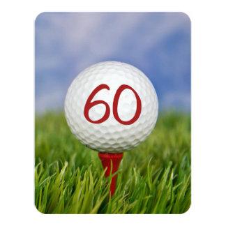 60th Birthday Party Golf theme 11 Cm X 14 Cm Invitation Card