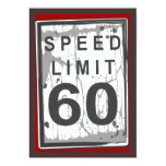 60th Birthday Party Grungy Speed Limit Sign 13 Cm X 18 Cm Invitation Card