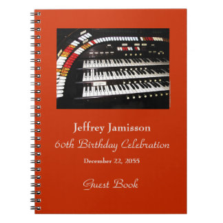 60th Birthday Party Guest Book, Antique Organ Notebooks