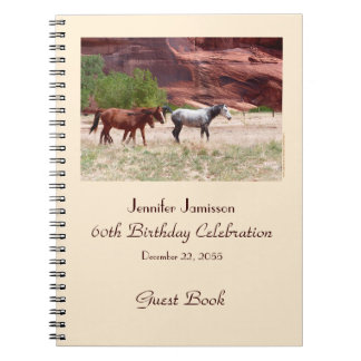 60th Birthday Party Guest Book, Horses in Canyon Spiral Notebook