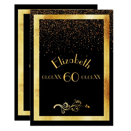 60th birthday party invitation card black and gold zazzle 60th birthday party invitation card black and gold stopboris Image collections