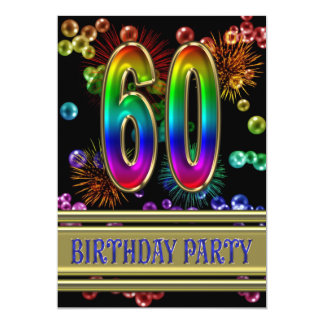 "60th Birthday party Invitation with bubbles 5"" X 7"" Invitation Card"